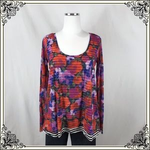 Weston Brand Floral/Striped LS Top #2490